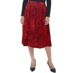 Bright Red Dream Classic Velour Midi Skirt