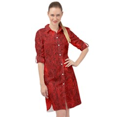 Bright Red Dream Long Sleeve Mini Shirt Dress by retrotoomoderndesigns