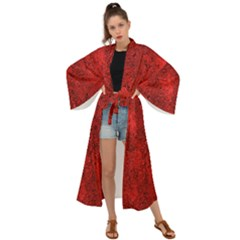 Bright Red Dream Maxi Kimono by retrotoomoderndesigns