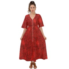 Bright Red Dream Kimono Sleeve Boho Dress by retrotoomoderndesigns