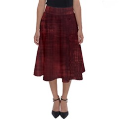 Red Grunge Perfect Length Midi Skirt