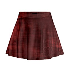 Red Grunge Mini Flare Skirt by retrotoomoderndesigns