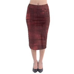 Red Grunge Midi Pencil Skirt by retrotoomoderndesigns