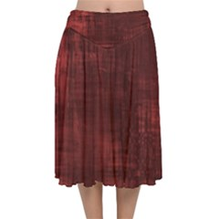 Red Grunge Velvet Flared Midi Skirt by retrotoomoderndesigns