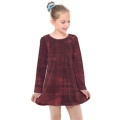 Red Grunge Kids  Long Sleeve Dress by retrotoomoderndesigns