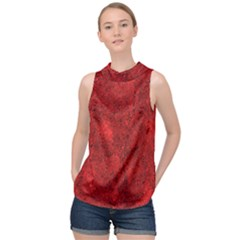 Bright Red Dream High Neck Satin Top by retrotoomoderndesigns