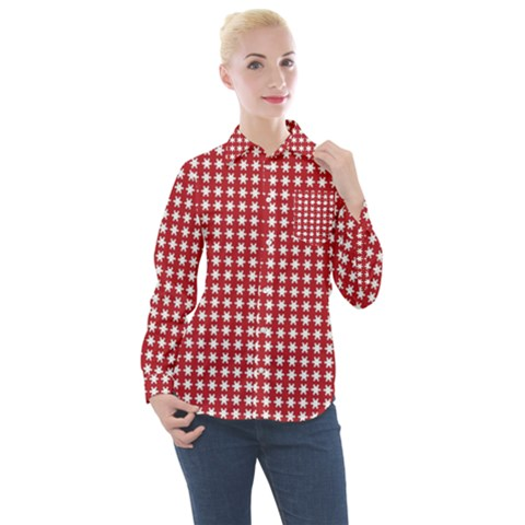 Red White Stars Women s Long Sleeve Pocket Shirt by retrotoomoderndesigns