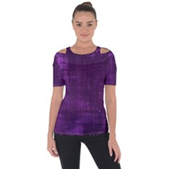 Purple Grunge Shoulder Cut Out Short Sleeve Top