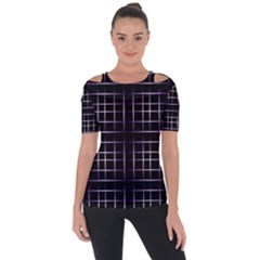Neon Purple Black Grid Shoulder Cut Out Short Sleeve Top