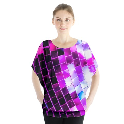 Purple Disco Ball Batwing Chiffon Blouse by essentialimage