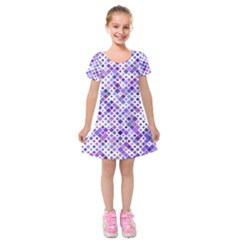 Purple Squared Kids  Short Sleeve Velvet Dress by retrotoomoderndesigns