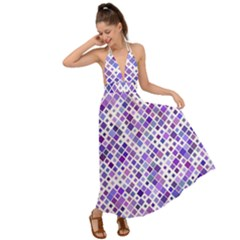 Purple Squared Backless Maxi Beach Dress