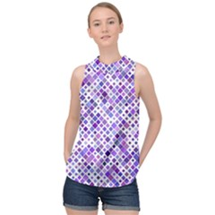 Purple Squared High Neck Satin Top