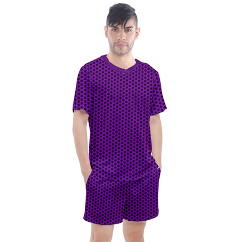 Purple Star Lattice Men s Mesh Tee And Shorts Set by retrotoomoderndesigns