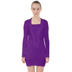 Purple Star Lattice V Neck Bodycon Long Sleeve Dress