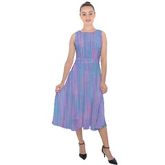 Purple Turquoise Watercolors Midi Tie Back Chiffon Dress