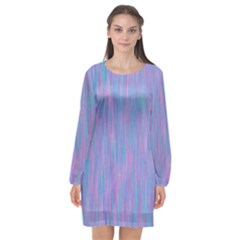 Purple Turquoise Watercolors Long Sleeve Chiffon Shift Dress