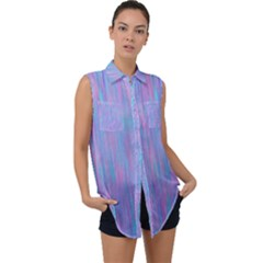 Purple Turquoise Watercolors Sleeveless Chiffon Button Shirt