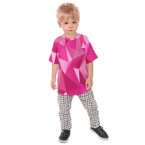 Abstract Pink Triangles Kids  Raglan Tee by retrotoomoderndesigns