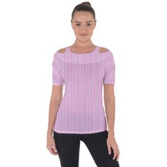Pink Stripes Vertical Shoulder Cut Out Short Sleeve Top