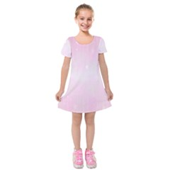 Pink Stars Kids  Short Sleeve Velvet Dress by retrotoomoderndesigns