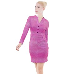 Hot Pink Breeze Button Long Sleeve Dress