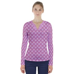 Pretty Pink Flowers V Neck Long Sleeve Top