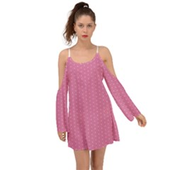 Polka Dotted Pinks Kimono Sleeves Boho Dress