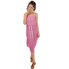 Polka Dotted Pinks Waist Tie Cover Up Chiffon Dress