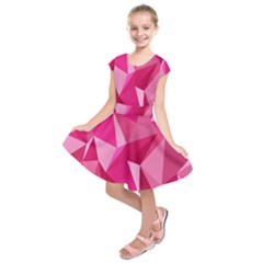 Abstract Pink Triangles Kids  Short Sleeve Dress by retrotoomoderndesigns