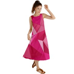 Abstract Pink Triangles Summer Maxi Dress