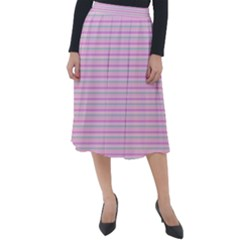 Pink Stripes Horizontal Classic Velour Midi Skirt  by retrotoomoderndesigns