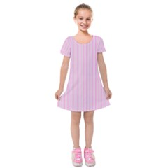 Pink Stripes Vertical Kids  Short Sleeve Velvet Dress by retrotoomoderndesigns
