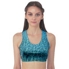 Turquoise Blue Ocean Sports Bra by retrotoomoderndesigns