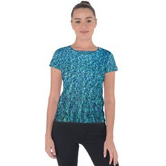 Turquoise Blue Ocean Short Sleeve Sports Top