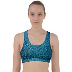 Turquoise Blue Ocean Back Weave Sports Bra