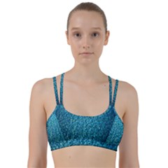 Turquoise Blue Ocean Line Them Up Sports Bra