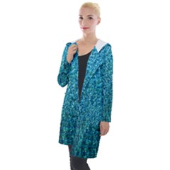 Turquoise Blue Ocean Hooded Pocket Cardigan