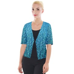 Turquoise Blue Ocean Cropped Button Cardigan