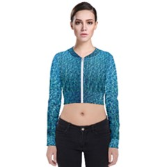 Turquoise Blue Ocean Long Sleeve Zip Up Bomber Jacket