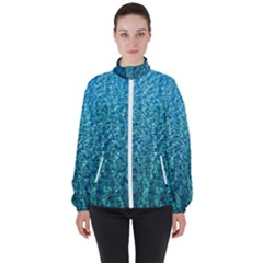 Turquoise Blue Ocean Women s High Neck Windbreaker