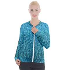 Turquoise Blue Ocean Casual Zip Up Jacket