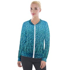 Turquoise Blue Ocean Velour Zip Up Jacket