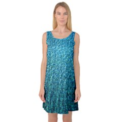Turquoise Blue Ocean Sleeveless Satin Nightdress