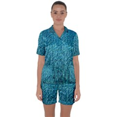 Turquoise Blue Ocean Satin Short Sleeve Pyjamas Set