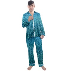 Turquoise Blue Ocean Men s Satin Pajamas Long Pants Set