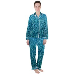 Turquoise Blue Ocean Satin Long Sleeve Pyjamas Set by retrotoomoderndesigns