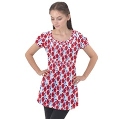 Red Flowers Blue Vines Puff Sleeve Tunic Top by bloomingvinedesign