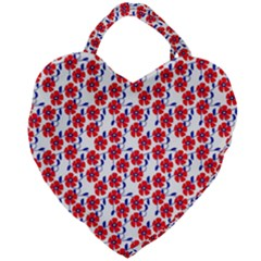 Red Flowers Blue Vines Giant Heart Shaped Tote by bloomingvinedesign