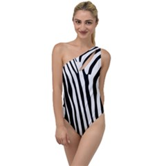 Vector Zebra Stripes Seamless Pattern To One Side Swimsuit by Vaneshart
